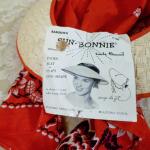 Vintage 1940s open crown straw visor hat by sun bonnie babushka red bandana scarf (15)