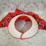 Vintage 1940s open crown straw visor hat by sun bonnie babushka red bandana scarf  (4)
