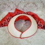 Vintage 1940s open crown straw visor hat by sun bonnie babushka red bandana scarf  (4)