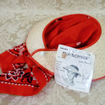 Vintage 1940s open crown straw visor hat by sun bonnie babushka red bandana scarf (14)