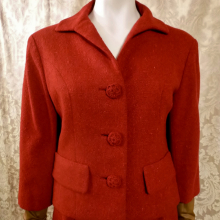 1960s vintage Sybil Connolly couture red irish tweed suit (8)