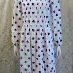 1970s vintage Casi  strawberry print red white blue dress made in Hong Kong British Crown Colony label (2)