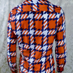 1970s vintage Kenneth Jay Lane Bonwit Teller geometric checkerboard red white blue poly blouse  (4)