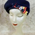 Vintage Bachrach's Washington DC Navy Blue Ribbed Beret colored ribbon bow (6)