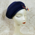 Vintage Bachrach's Washington DC Navy Blue Ribbed Beret colored ribbon bow (5)