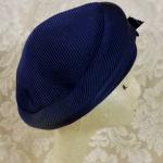 Vintage Bachrach's Washington DC Navy Blue Ribbed Beret colored ribbon bow (4)