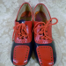 Vintage 1960s Hi Brows navy blue red patent leather oxford spectator shoes  (3)