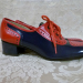 Vintage 1960s Hi Brows navy blue red patent leather oxford spectator shoes  (2)