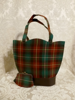 Vintage plaid green orange gold wool handbag matching change purse  (6)