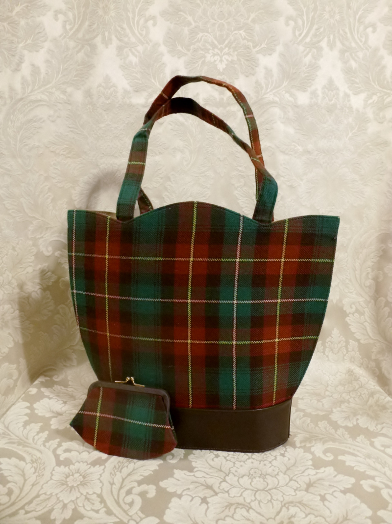 Vintage plaid green orange gold wool handbag matching change purse  (6)