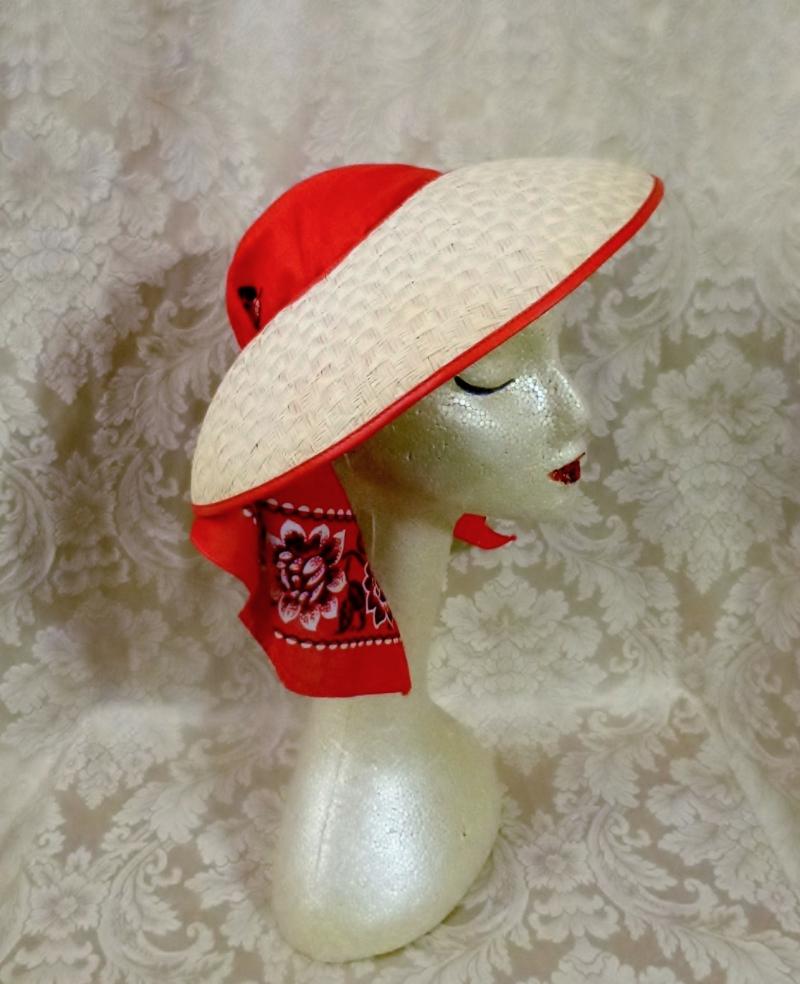 Vintage 1940s open crown straw visor hat by sun bonnie babushka red bandana scarf (18)