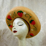 1950s vintage straw hat hand painted decorated strawberries daisies wide brim polka dot ribbon red white  (5)