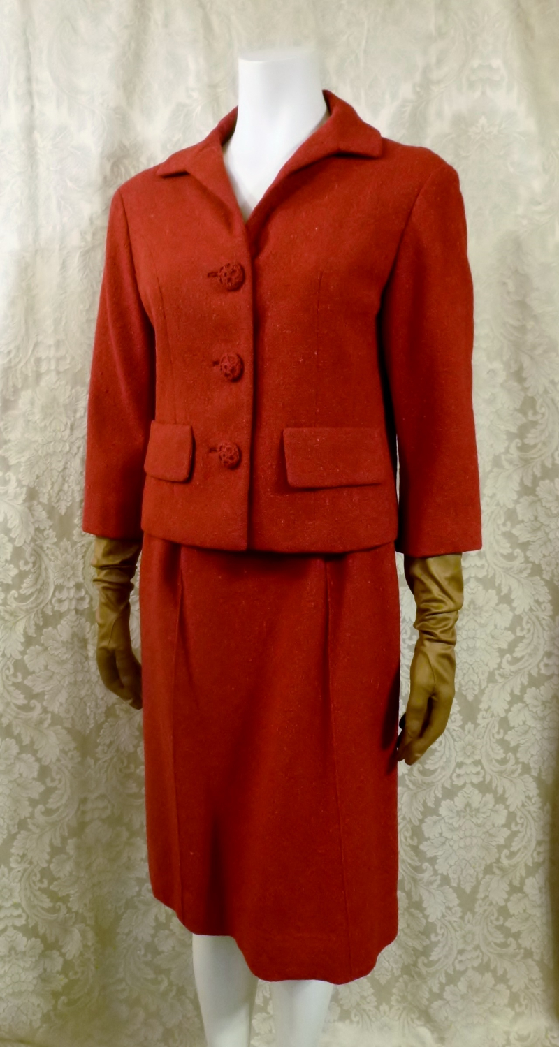 1960s vintage Sybil Connolly couture red irish tweed suit (6)