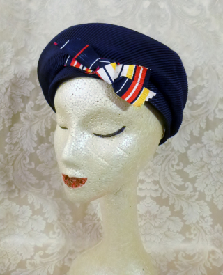 Vintage Bachrach's Washington DC Navy Blue Ribbed Beret colored ribbon bow (2)