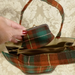 Vintage plaid green orange gold wool handbag matching change purse  (5)