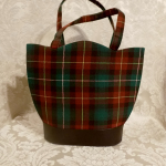 Vintage plaid green orange gold wool handbag matching change purse  (2)