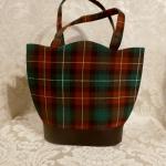 Vintage plaid green orange gold wool handbag matching change purse  (2)