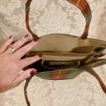 Vintage plaid green orange gold wool handbag matching change purse  (4)