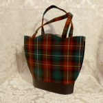 Vintage plaid green orange gold wool handbag matching change purse  (1)