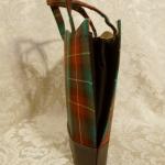 Vintage plaid green orange gold wool handbag matching change purse  (3)
