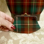 Vintage plaid green orange gold wool handbag matching change purse  (7)