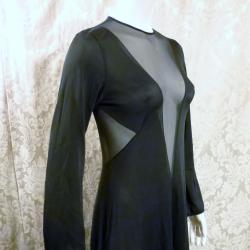 1970s vintage ralph montenero plunge front keyhole back sheer black negligee  (13)