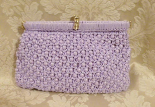 Vintage raffia beaded lavender orchid purple clutch It's in the Bag Ritter 1960s (1)