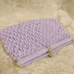 Vintage raffia beaded lavender orchid purple clutch It's in the Bag Ritter 1960s (2)