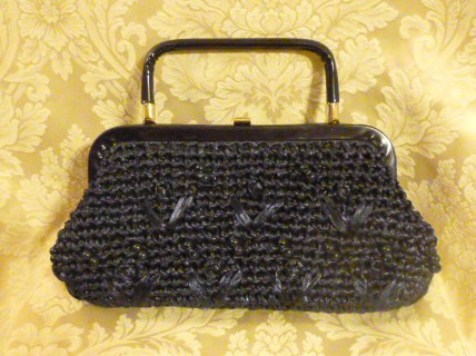 Navy blue raffia beaded straw purse bag 1960s (1)