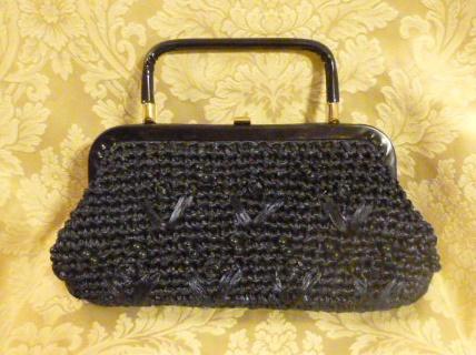 Navy blue raffia beaded straw purse bag 1960s (1)