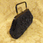 Navy blue raffia beaded straw purse bag 1960s (10)