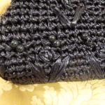 Navy blue raffia beaded straw purse bag 1960s (2)