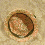 Vintage 1950s peach green raffia straw pillbox hat  (6)