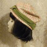 Vintage 1950s peach green raffia straw pillbox hat  (3)