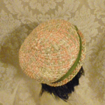 Vintage 1950s peach green raffia straw pillbox hat  (5)