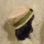 Vintage 1950s peach green raffia straw pillbox hat  (2)