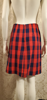 1960s Mod Vintage Navy Blue & Red Buffalo Check Cape Coat & Skirt Ensemble (8)