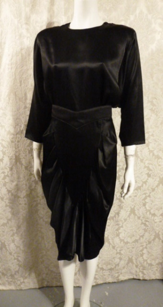 1980's All That Jazz dolman sleeve batwing sleeve black stain 1940s style cocktail dress (1)