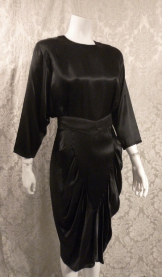 1980's All That Jazz dolman sleeve batwing sleeve black stain 1940s style cocktail dress (2)