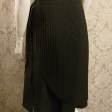 1970s vintage knife pleat assymetric black wrap overlay skirt side buttons  (7)