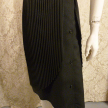1970s vintage knife pleat assymetric black wrap overlay skirt side buttons  (3)