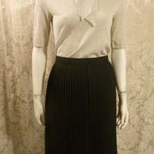 1970s vintage knife pleat assymetric black wrap overlay skirt side buttons  (6)