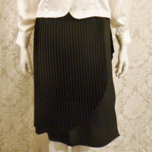 1970s vintage knife pleat assymetric black wrap overlay skirt side buttons  (14)