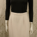 Vintage 1980s Carolyne Roehm ivory white crepe wool pencil skirt. (2)