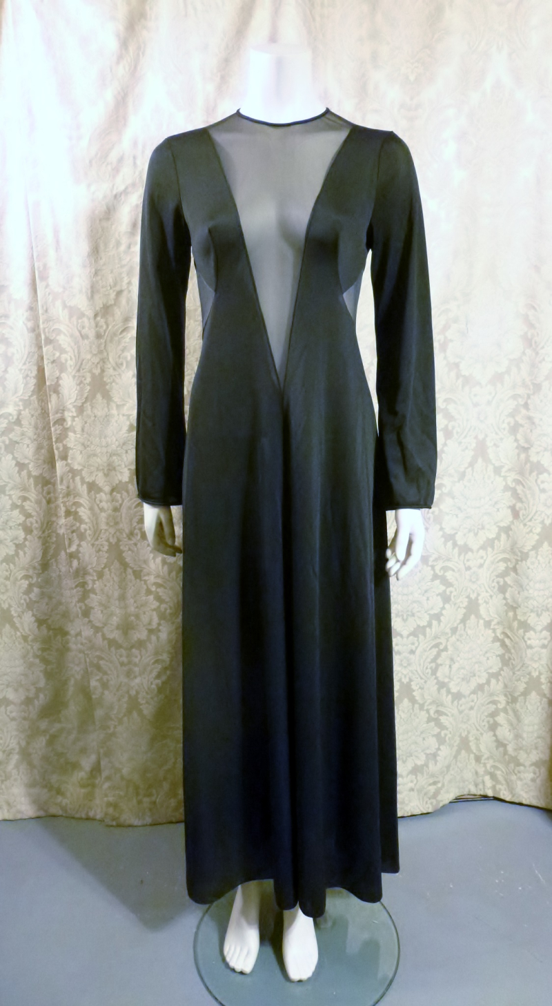 1970s vintage ralph montenero plunge front keyhole back sheer black negligee  (2)