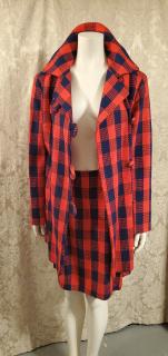 1960s Mod Vintage Navy Blue & Red Buffalo Check Cape Coat & Skirt Ensemble (6)