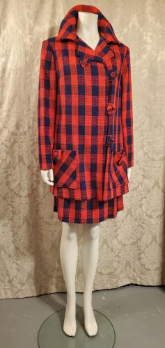 1960s Mod Vintage Navy Blue & Red Buffalo Check Cape Coat & Skirt Ensemble (1)