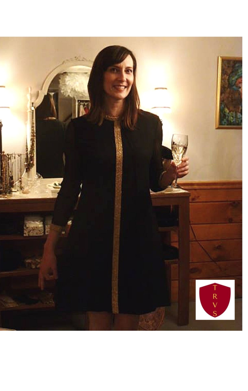 Heather modeling a vintage 1960's black crepe chiffon dress from The Red Velvet Shoe