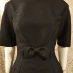 Vintage 1950s B. Altman & Co. Fifth Ave New York black cocktail dress bow scoop back  (8)