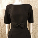 Vintage 1950s B. Altman & Co. Fifth Ave New York black cocktail dress bow scoop back  (3)